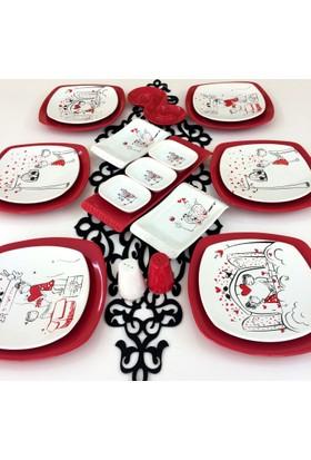 Keramika 21 Parça 6 Kişilik Peri Masalı Aşk Kahvaltı Takımı