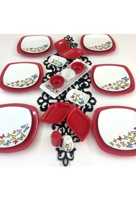 Keramika Dance of Butterfly Red 6 Kişilik Kahvaltı Takımı