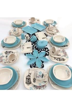 Keramika Retro Turkuaz 6 Kişilik 51 Parça Yemek Takımı