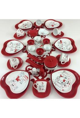 Keramika Kırmızı Kalp Peri Masali 39 Parça 6 Kişilik Kahvaltı Takımı