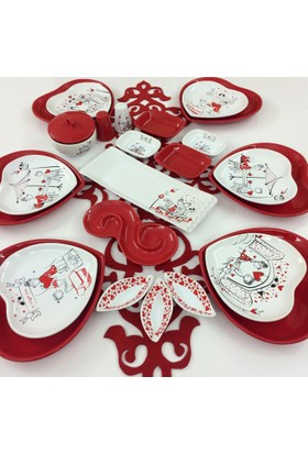 Keramika Kırmızı Kalp 25 Parça 6 Kişilik KahvaltıTakımı