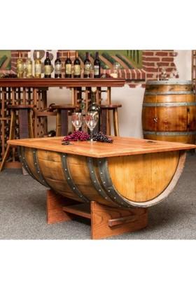 Masifart Fıçı Orta Sehpa Naturel 120 Cm Ahşap Şarap Fıçısından