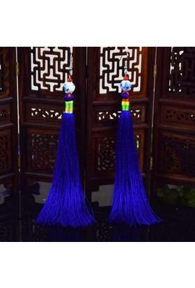 Myfavori Mavi Ve Beyaz Porselen Uzun Püskül Küpe