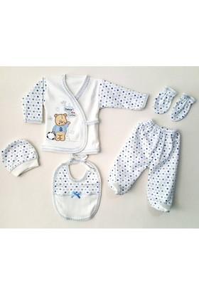 Karyel 5 Parça Erkek Bebek Hastane Çıkışı Yeni Doğan Zıbın Seti Ba5-8848-M