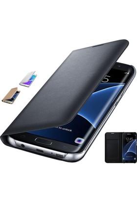 Teknoarea Samsung Galaxy S7 Suni Deri Cüzdan Kılıf Flip Wallet siyah