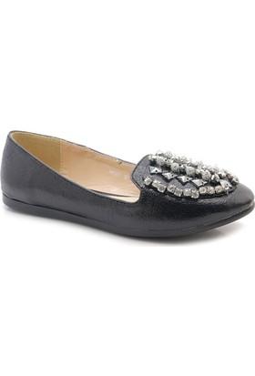 Ahs Siyah Taşlı Günlük Kadın Babet Ayakkabı