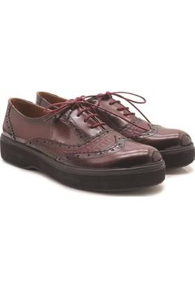 Armoni 4030 Loafer Bordo Siyah Kadın Ayakkabı