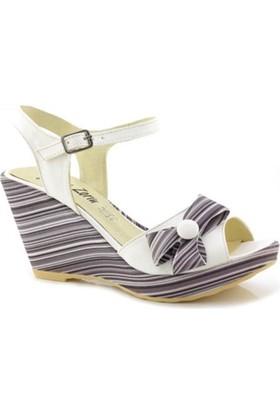 Fantasy Beyaz Kaplama Dolgu Topuk Ayakkabı