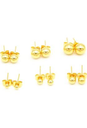 Chavin Yuvarlak Sarı Top Bayan Çelik Küpe 5-6 Mm. Dm18-7