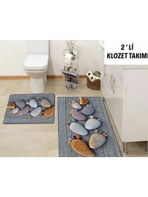 Else Halı 3 Boyutlu Taşlı Klozet Takımı Banyo Paspas Seti