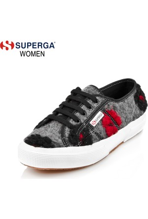 Superga 2750-Woolflowersw 909 S00Awb0 X01690 Grey-Black-Red Ayakkabı