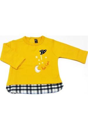 Cigit Kids Ay Yıldız Nakışlı Bebek Tişörtü Sarı