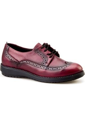 Cabani Bağcıklı Günlük Kadın Ayakkabı Bordo Deri