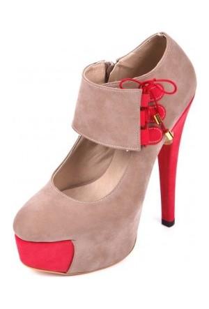 Bonalodi Bej Nar Süet Kadın Topuklu Ayakkabı