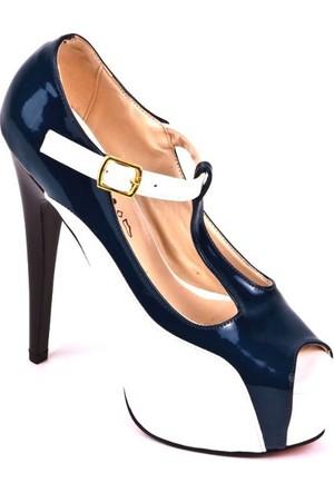 Bonalodi Beyaz Yeşil Kadın Topuklu Kadın Ayakkabı