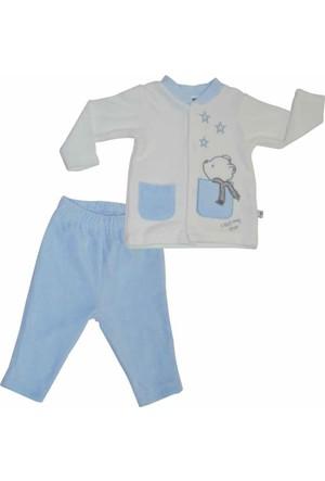Premom 1015-1 Yıldızlı Ayıcık 2'li Kadife Bebek Takımı