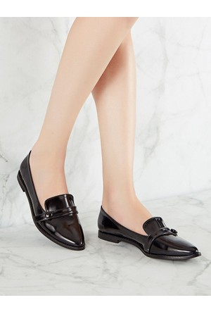 Mecrea Exclusive Mikasa Siyah Mat Rugan Loafer