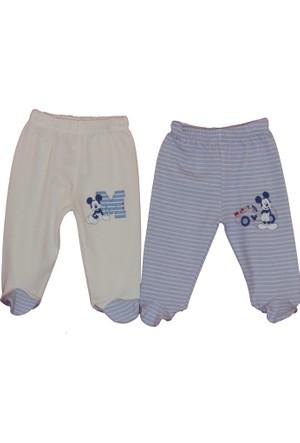 Disneybaby Mickey Mouse 2'li Patikli Pantolon - Mavi - Beyaz - 9 - 12 Ay