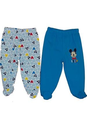 Disneybaby Mickey Mouse Desenli 2'li Patikli Pantolon - Mavi - 6 - 9 Ay