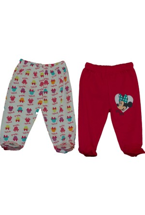 Disneybaby Mini Mouse 2'li Patikli Pantolon Beyaz - Kırmızı - 6 - 9 Ay