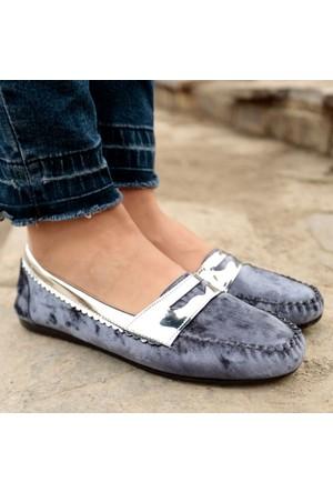 İnce Topuk Lacivert Kadife Loafer Ayakkabı