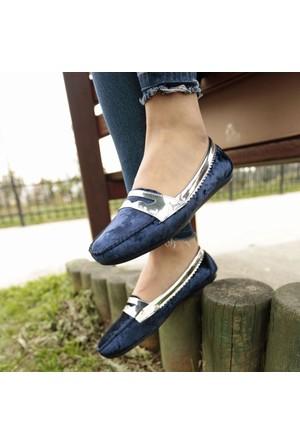 İnce Topuk Saks Mavi Kadife Loafer Ayakkabı