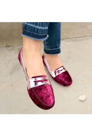 İnce Topuk Fuşya Kadife Loafer Ayakkabı