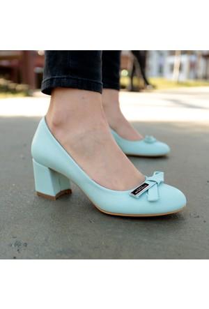 İnce Topuk Bebe Mavisi Kısa Topuklu Ayakkabı