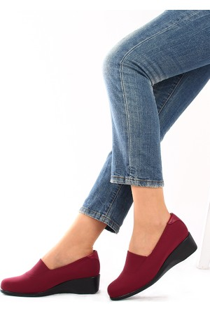 Gön Bordo Streçe Bordo Deri Kadın Ayakkabı 22385