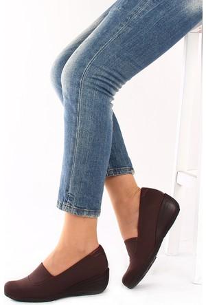 Gön 22392 Kahve Streçe Kahve Deri Kadın Ayakkabı