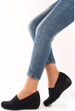 Gön 22392 Siyah Streçe Siyah Deri Kadın Ayakkabı