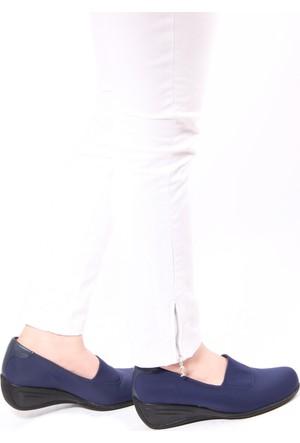 Gön 22392 Lacivert Streçe Lacivert Deri Kadın Ayakkabı