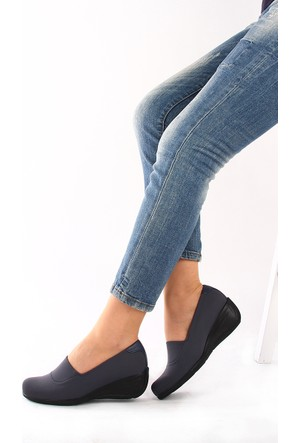Gön 22392 Gri Streçe Gri Deri Kadın Ayakkabı
