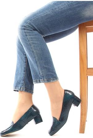 Gön 22338 Yeşil Krako Deri Kadın Ayakkabı