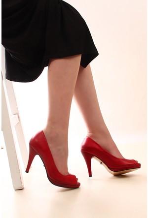 Gön Kırmızı Antik Deri Kadın Ayakkabı 22344