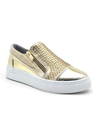 Dizzy Altın Rengi Yüksek Taban Taşlı Spor Günlük Kadın Ayakkabı