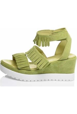 Bueno Yeşil Püsküllü Süet Bayan Sandalet