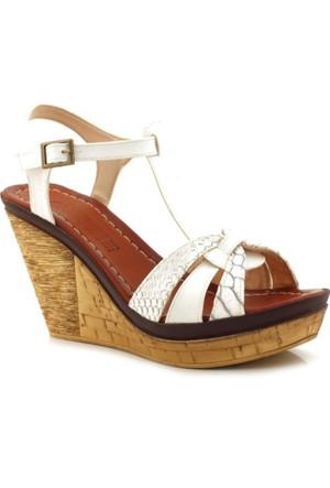 Ahenk Beyaz Dolgu Topuk Kadın Ayakkabı
