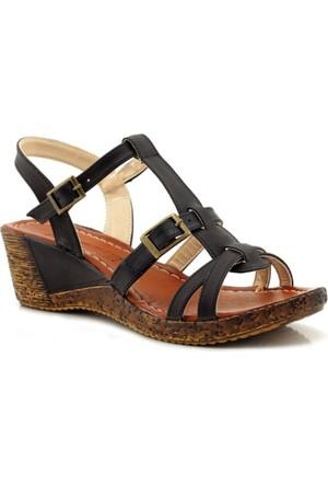 Ahenk Siyah Dolgu Topuk Kadın Sandalet