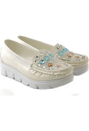Alibo Sedef Beyaz Taşlı Kalın Taban Çocuk Ayakkabı