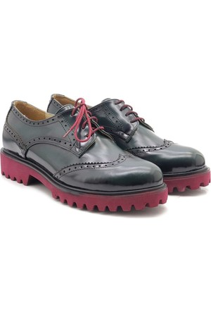 Fancy W1003-020 Yeşil Bordo Oxford Kadın Ayakkabı