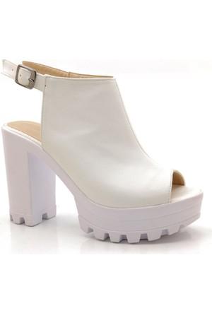 Fantasy Beyaz Lady Platform Burnu Açık Ayakkabı