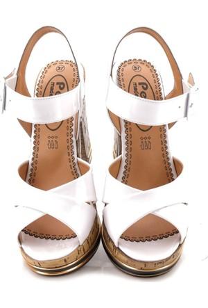 Fantasy Rugan Beyaz Platform Sandalet