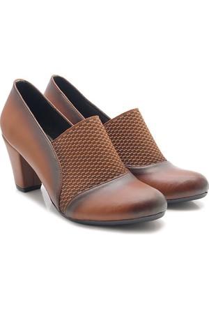Fantasy Taba Siyah Topuklu Günlük Klasik Kadın Ayakkabı