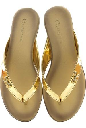 Flip Flop Parlak Dore Altın Renk Parmak Arası Kadın Terlik