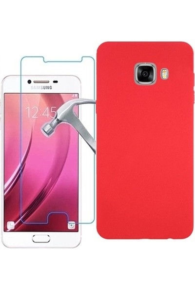 KılıfShop Samsung Galaxy C7 Premier Silikon Kılıf + Ekran Koruyucu