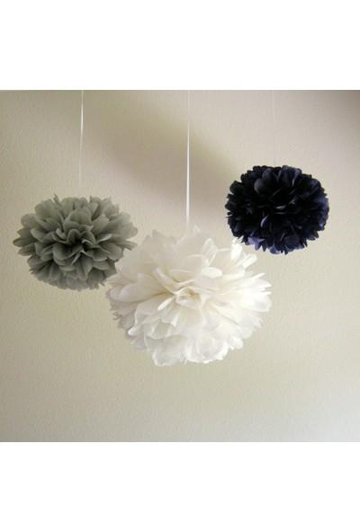 Bebekparti Ponpon Çiçek 3'lü Beyaz Gri Siyah