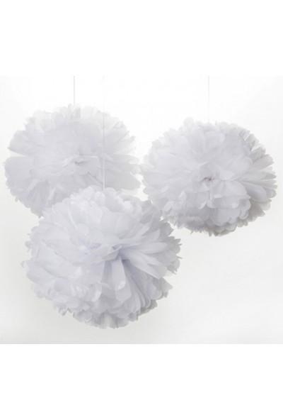 Bebekparti Ponpon Çiçek 3'lü Beyaz