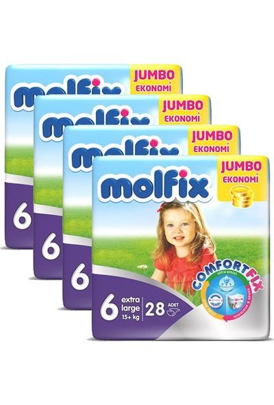 Molfix Bebek Bezi Comfort Fix Jumbo 4'Lü Paket 6 Beden 112 Adet