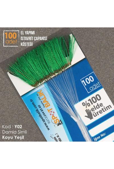 Abari Y02 İstavrit Çinekop Çapari Kösteği Koyu Yeşil 100Ad 11 No Beyaz İğne